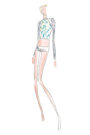 A sketch from Maxim's swim collection.