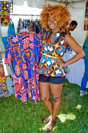 Designer Jennifer Akese Burney with one of her looks.