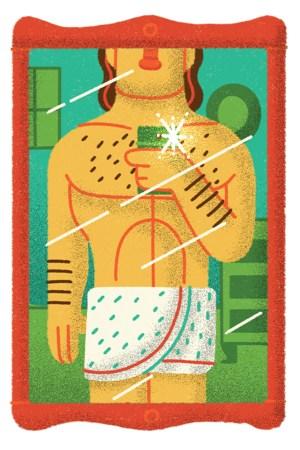 Illustration of man in towel