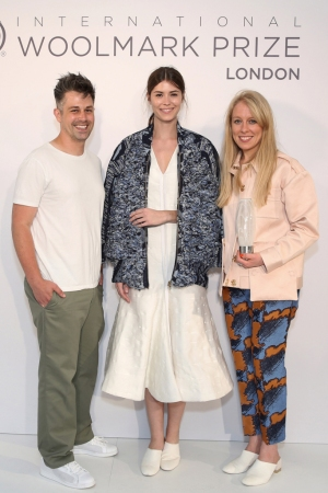 Designers Catherine Teatum and Rob Jones of Teatum Jones, with a model wearing their winning design.