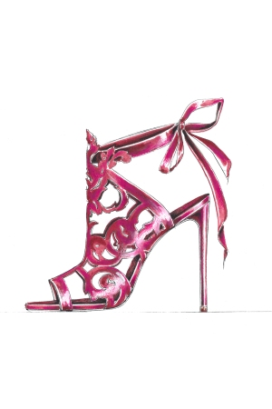 A sketch from Marchesa's footwear collection.