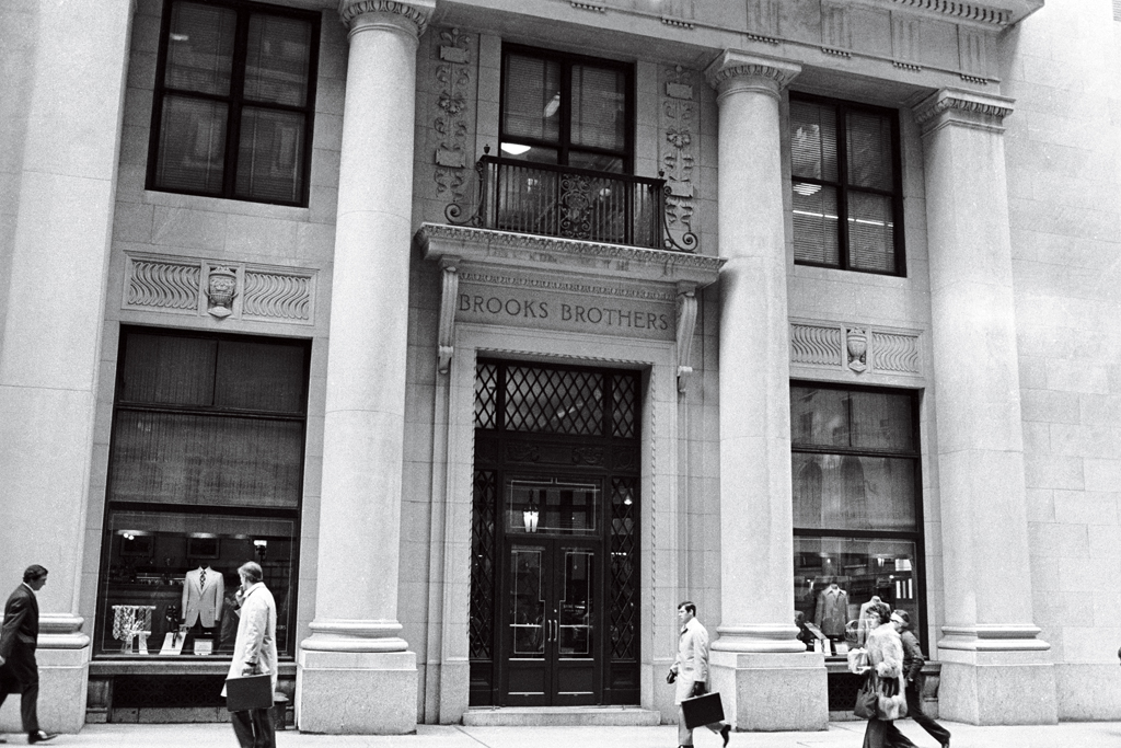 A Brooks Brothers store front in 1976