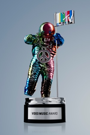 The MTV Video Music Award Moonman, designed by Jeremy Scott.