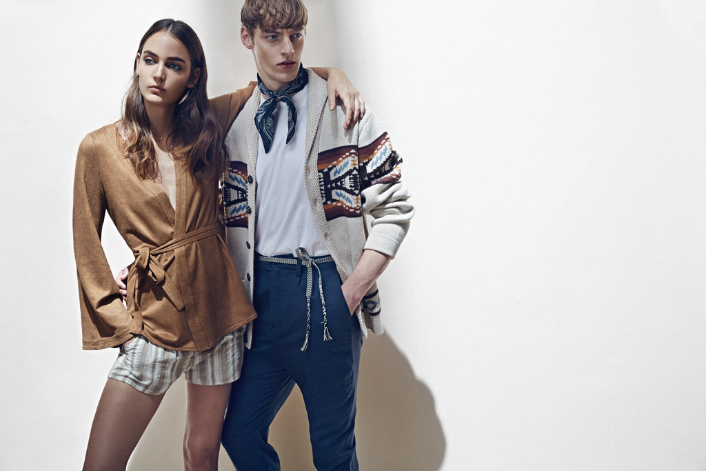ON HER: Astars' polyester and spandex kimono jacket, White Crow's cotton shorts and Dogeared's necklace, all available at Project Womens.  ON HIM: Pendleton Woolen Mills' cotton sweater at Project, Vince's cotton T-shirt and Scott Langton's wool pants, both at The Tents at Project.