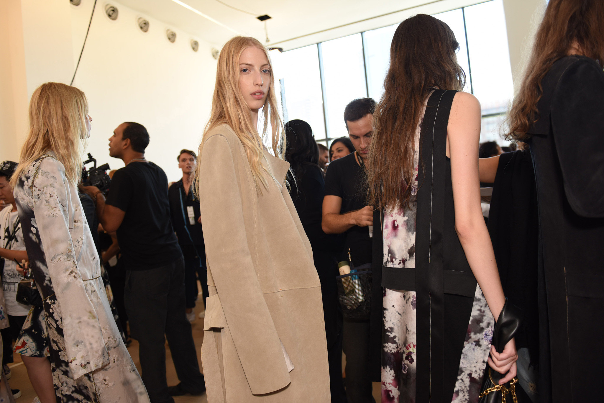 Backstage at Calvin Klein Collection RTW Spring 2016