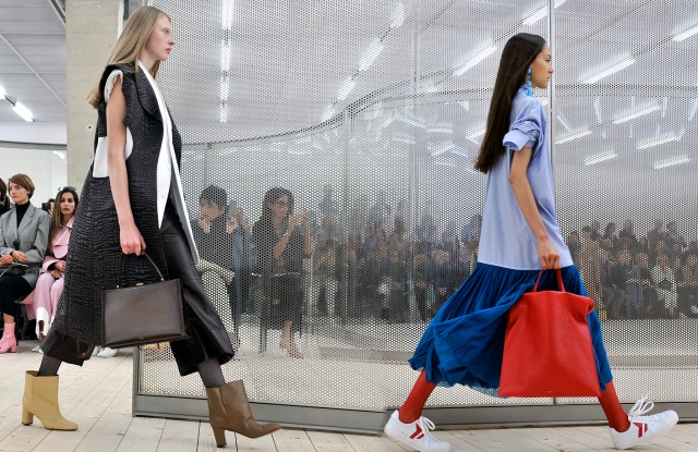 Handbags and shoes on Celine's spring 2017 runway.