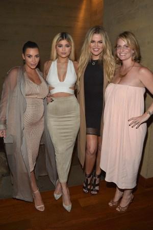 Jen Garcia with Kim Kardashian, Kylie Jenner and Khloé Kardashian at Whalerock's app preview dinner at Nobu in Malibu.