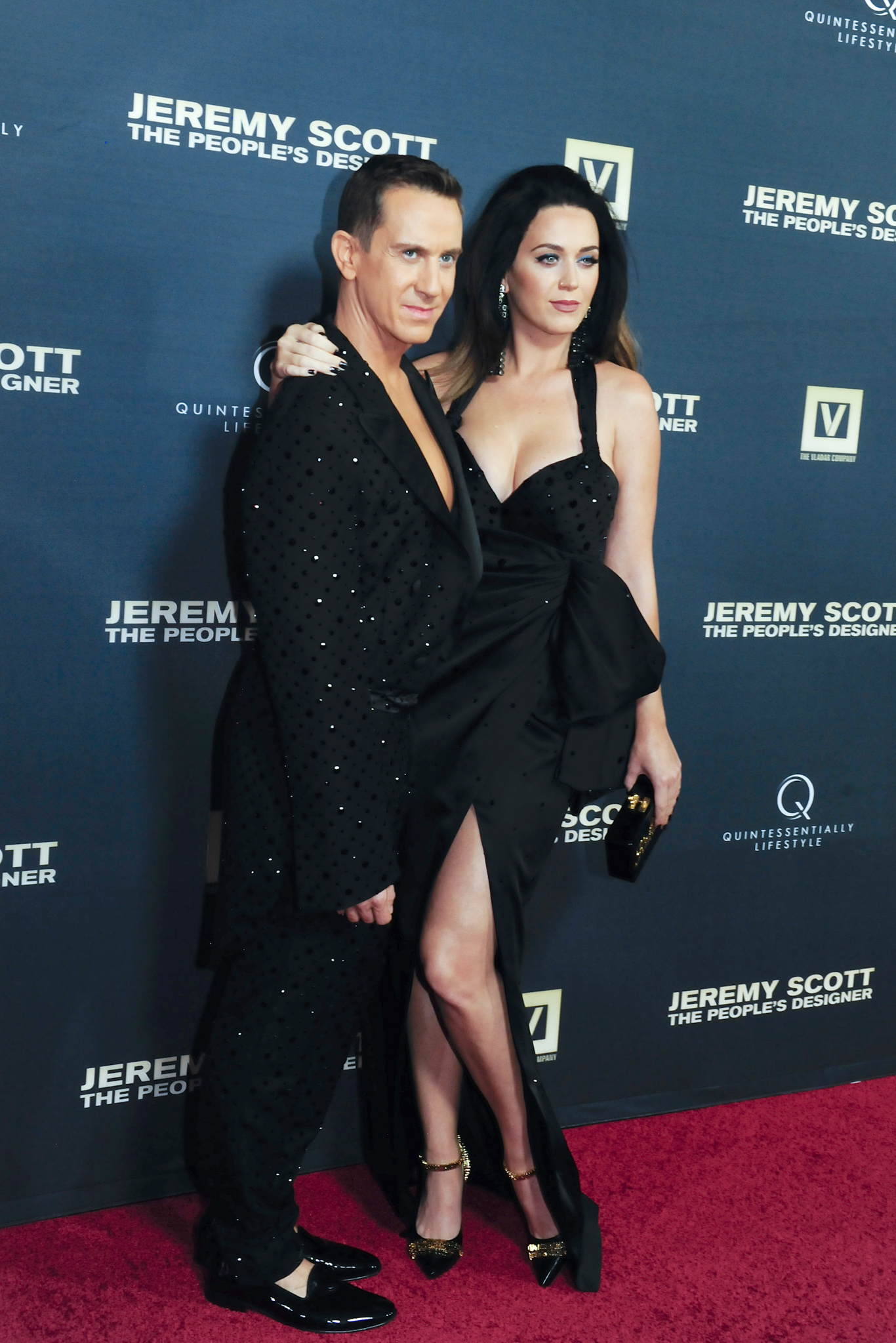 "Jeremy Scott and Katy Perry at the Hollywood premiere of ""Jeremy Scott: The People's Designer."" ""We are twinning. I think that's the word on the streets these days,"" said Perry. ""Jeremy is always so kind to let me borrow things, but I turn into a pumpkin at midnight."""