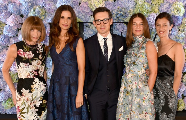 Anna Wintour, Livia Firth, Erdem Moralioglu, Natalie Massenet and Sally Singer The London 2015 Green Carpet Collection by Erdem Event
