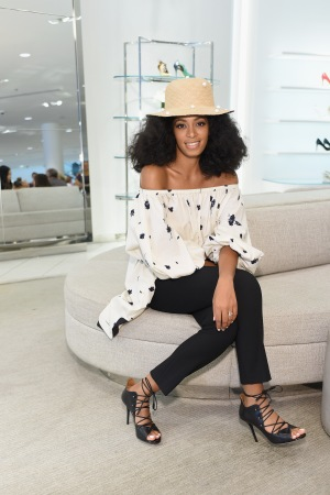 Solange Knowles trying on a pair of Malone Souliers at Nordstrom