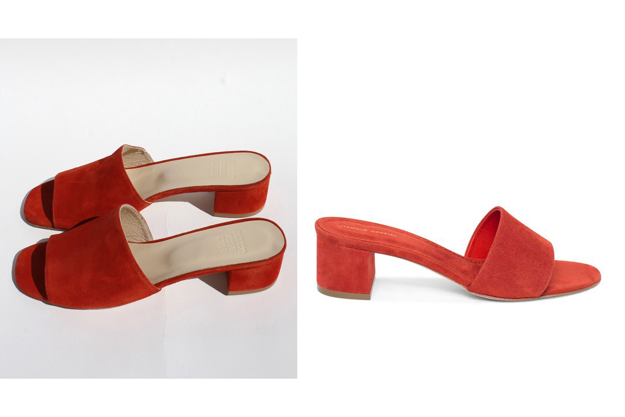 Sandals by Maryam Nassir Zadeh (left), and Mansur Gavriel (right).