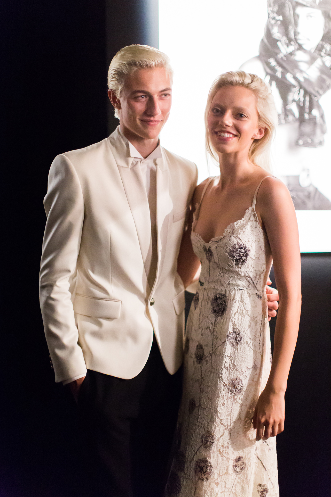Lucky Blue and Pyper Smith at Moncler Art for Love exhibit