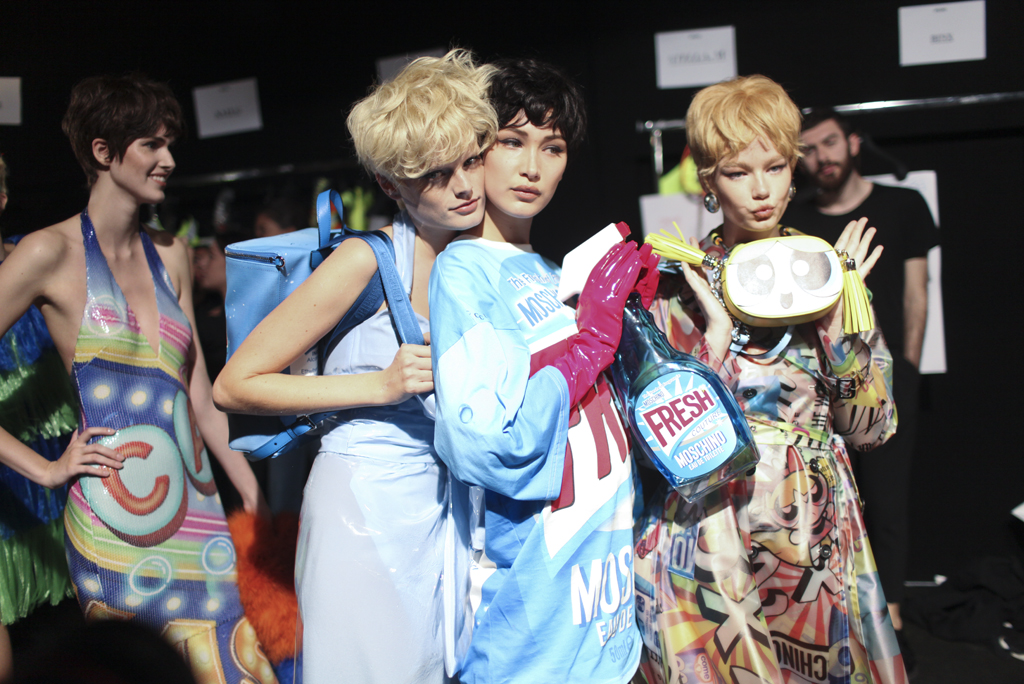 Backstage at Moschino Spring 2016