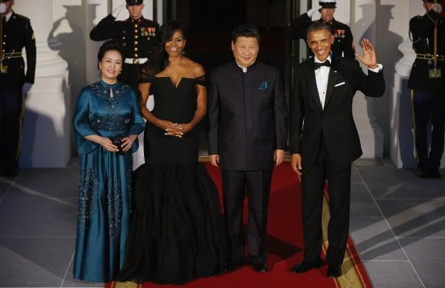 Madame Peng Liyuan, Michelle Obama in Vera Wang, Chinese President Xi Jinping and President Obama.
