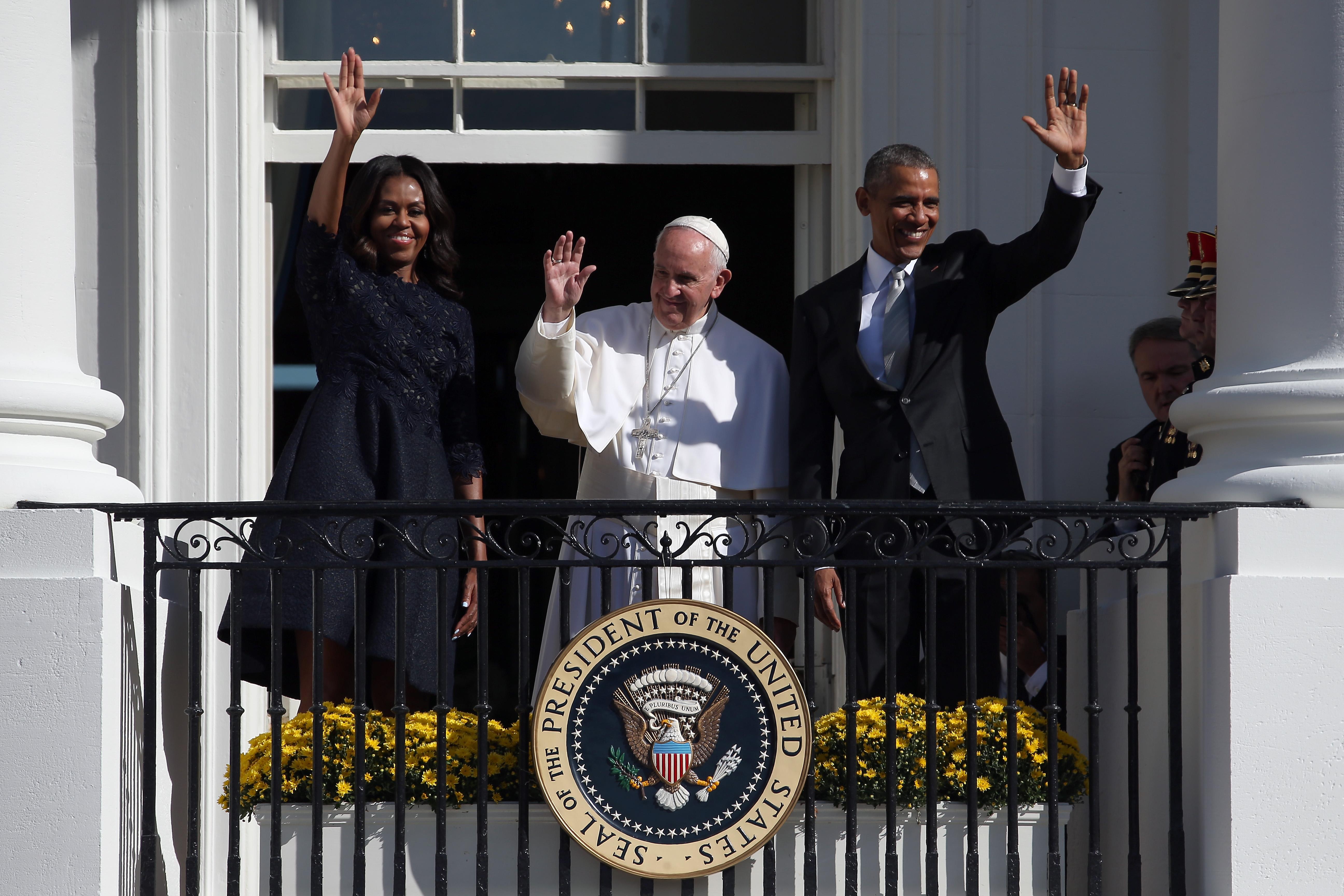 Michelle Obama, Pope Francis and Barack Obama