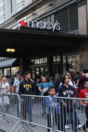 Barricades outside Macy's on Friday near the Pope's visit to Madison Square Garden.