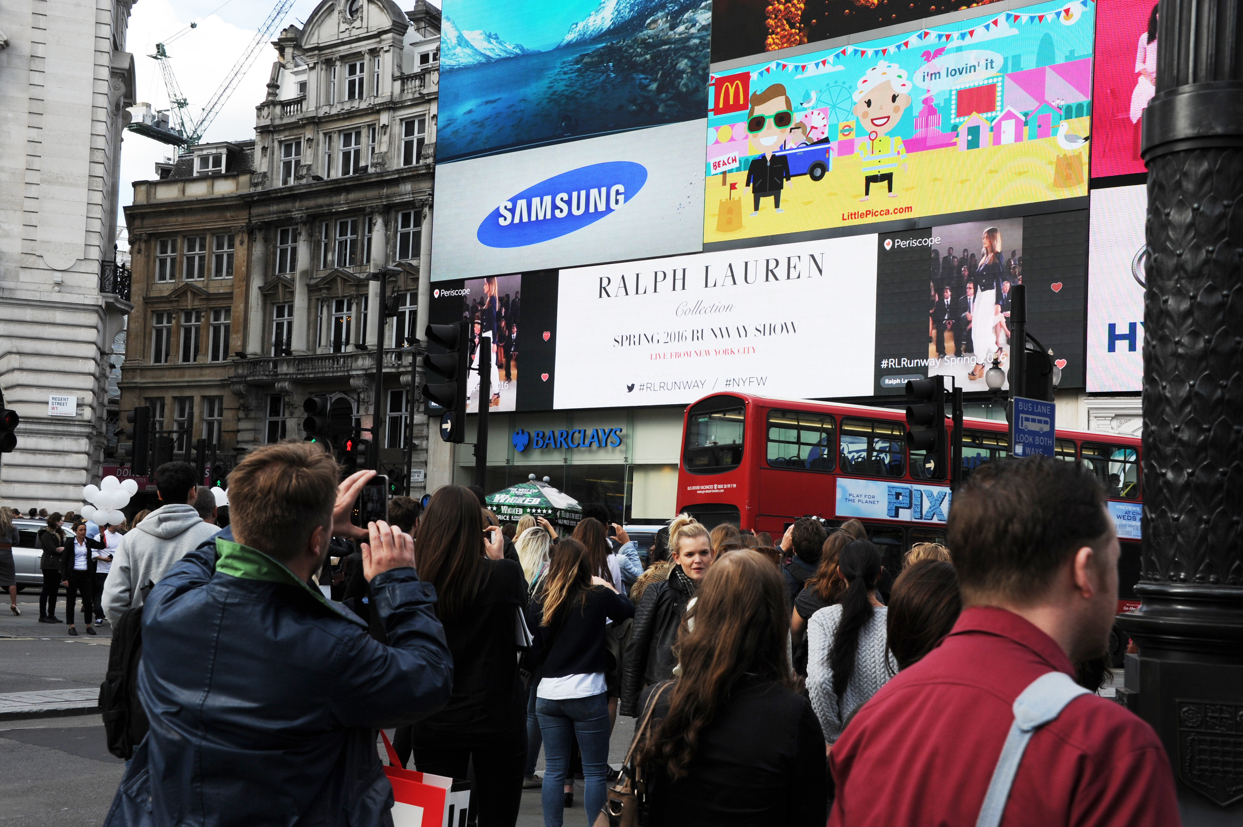Ralph Lauren Show Streams London Piccadilly Circus