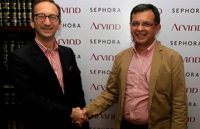 Olivier Schaeffer, global chief operating officer of Sephora, and J. Suresh, managing director and chief executive officer of Arvind Lifestyle Brands.