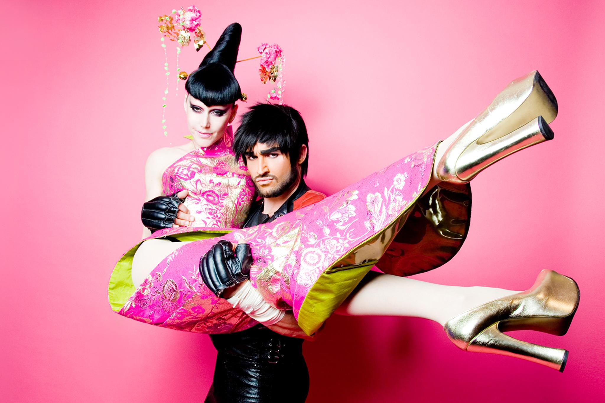 Susanne Bartsch and François Sagat in Switzerland hosting an AIDS benefit. Dress by Mathu and Zaldy, 2011.
