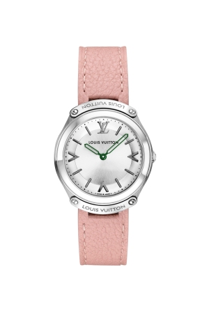 The Louis Vuitton Fifty Five watch with 31 mm case and pink leather bracelet