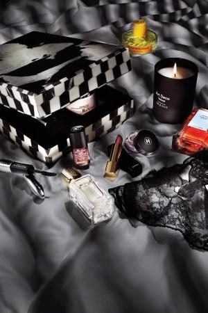 1. RéVive Skincare Artbox 13, $595; 2. Vilhelm Parfumerie Fleur Burlesque, $245; 3. Arquiste Art Deco Velvet, $85; 4. Prada Olfactories Tainted Love, $300; 5. Givenchy Le Soin Noir, $330; 6. Ex Nihilo Fleur Narcotique, $225; 7. L'Oréal Voluminous Superstar Mascara, $10.99; 8. Chanel Le Top Coat Lame Rouge Noir, $27, Rouge Allure, $36, and Illusion D'Ombre, $36, in Rouge Noir