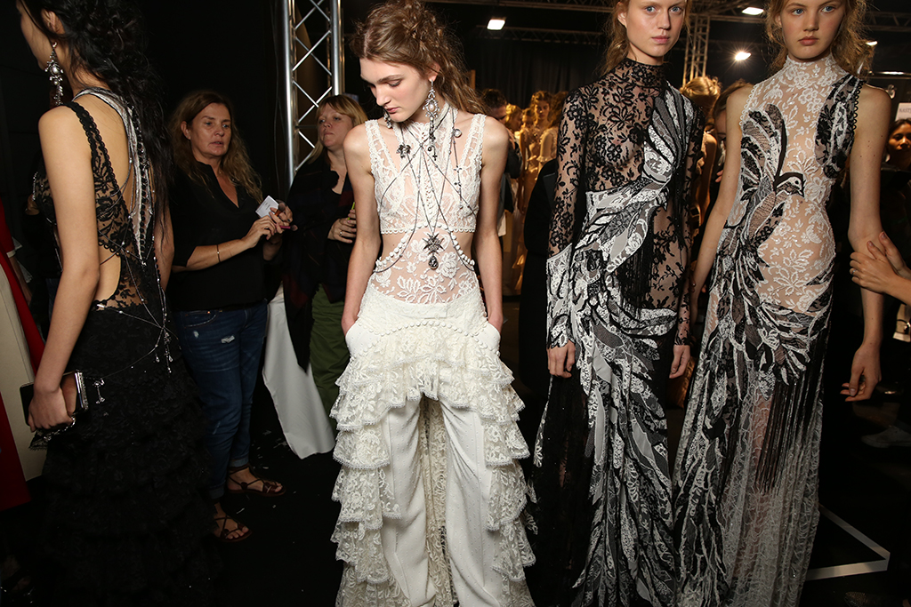 Backstage at Alexander McQueen RTW Spring 2016