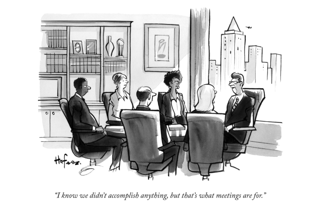 Kaamran Hafeez's New Yorker cartoon that resides in Bloomberg's conference rooms.