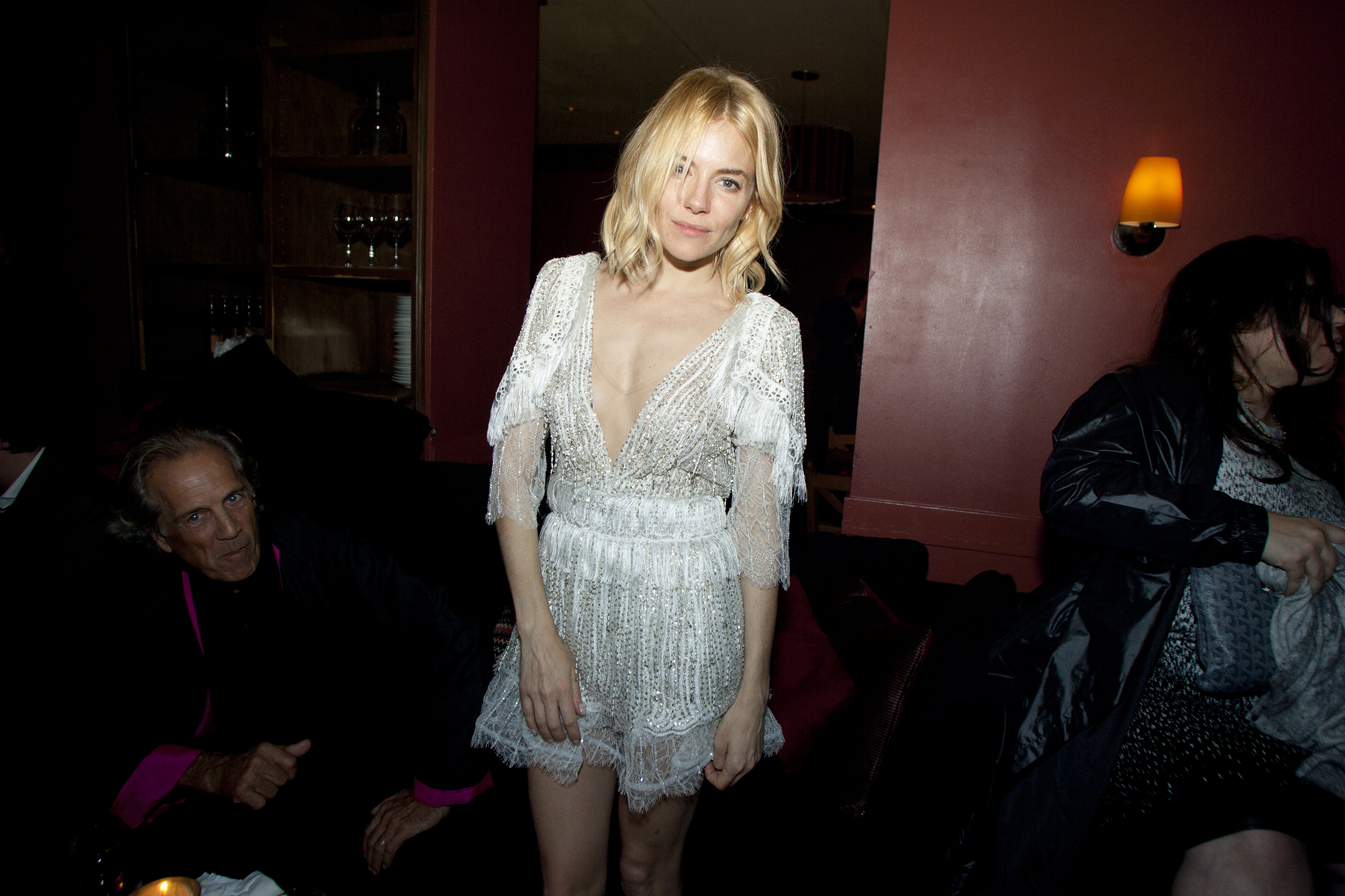 "Sienna Miller at the after-party for the ""Burnt"" film screening at Otto. ""Sienna became really an extraordinarily talented fish chef,"" noted director John Wells. ""So if you want fish, call Sienna Miller, she'll come over and cook."""