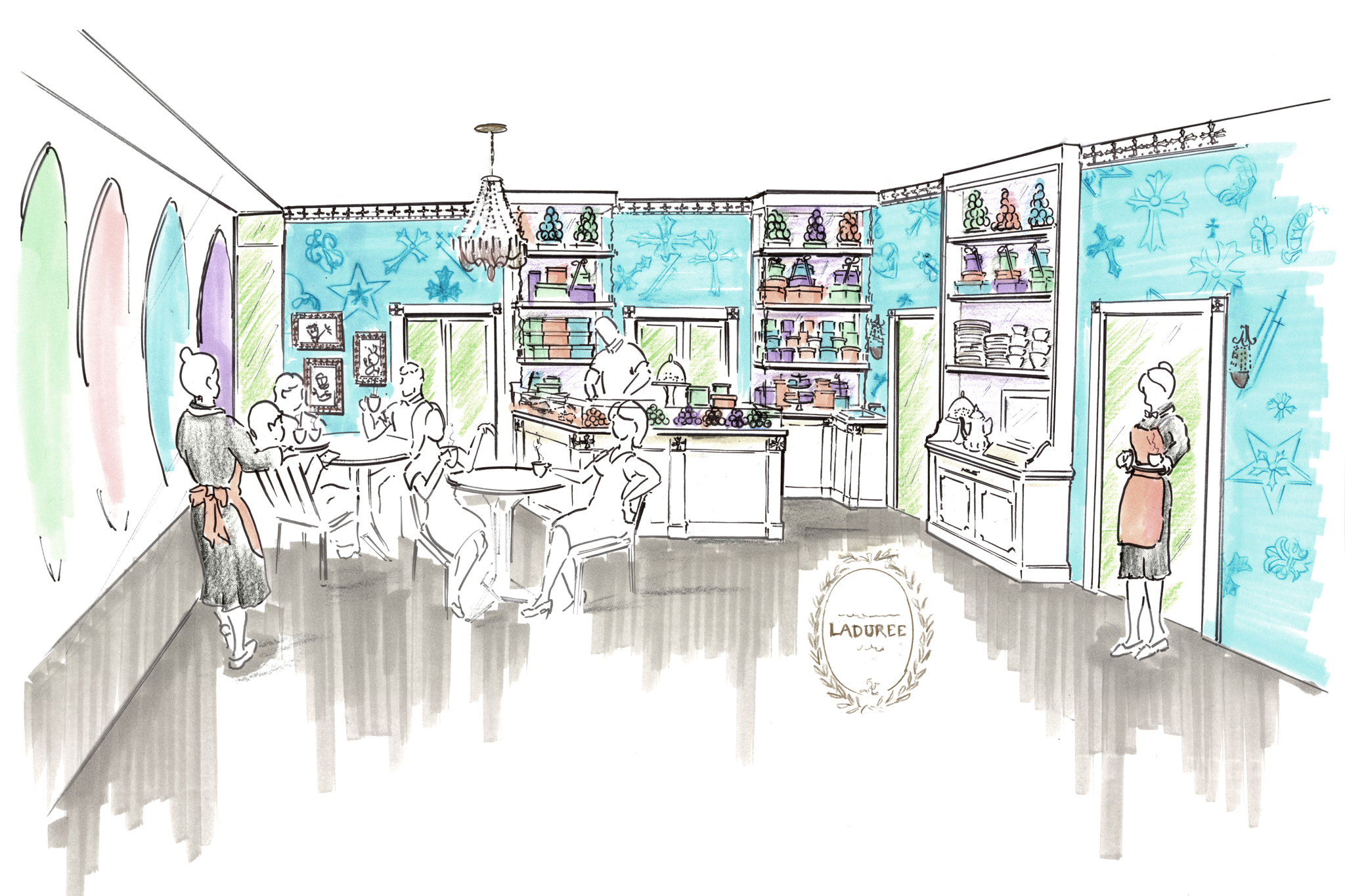 A sketch of Ladurée's macaron and tea shop opening in Chrome Hearts' Miami boutique.