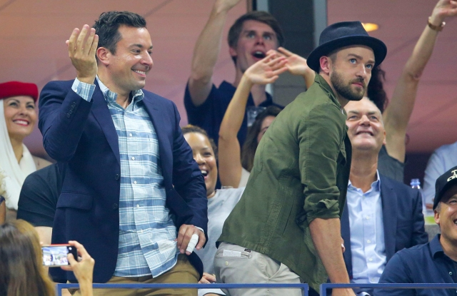Jimmy Fallon and Justin Timberlake dance to 'Single Ladies' during the Men's Singles Quarterfinals at the US Open.
