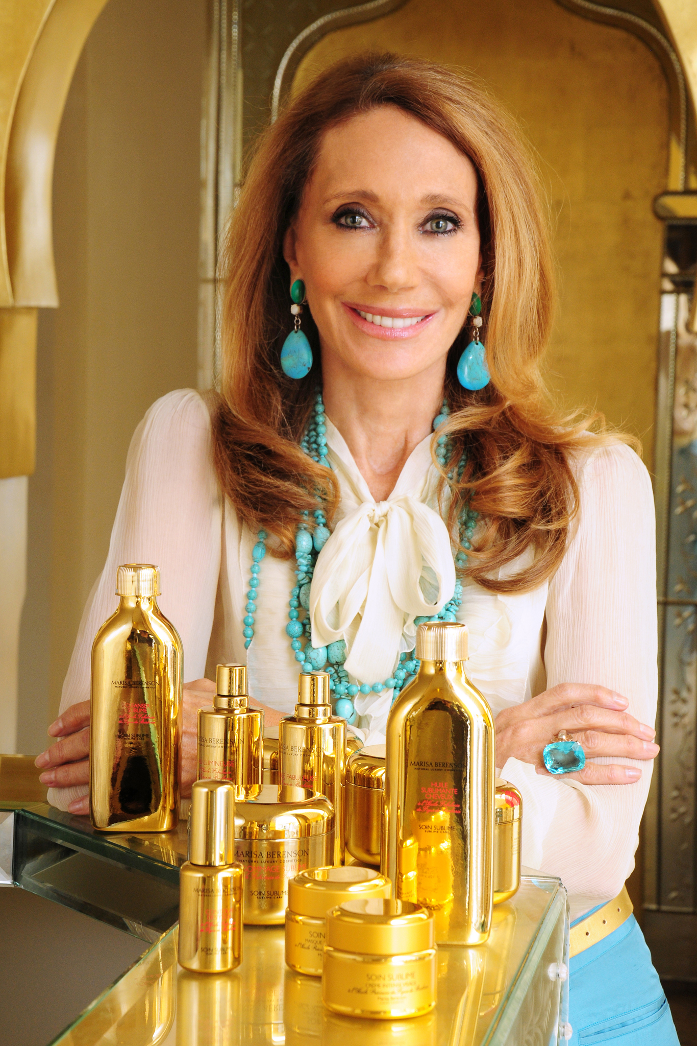 Marisa Berenson with products from her collaboration with Neiman Marcus.