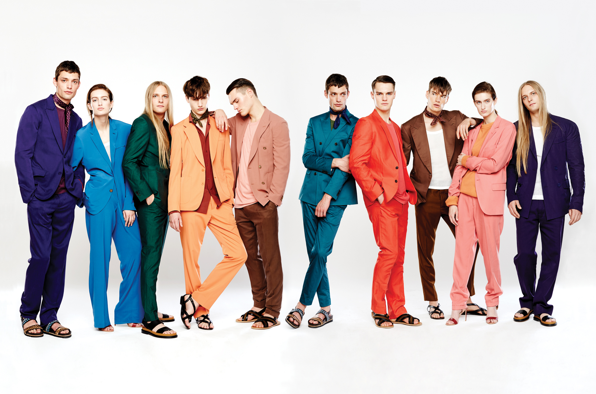 From Left: Nick wears Berluti's suit and Sunspel's T-shirt, both in cotton. Salvatore Ferragamo sandals. Kelin wears Etro's silk suit and Burberry Prorsum's cotton tank top. Francesco Russo pumps. Max wears Casely-Hayford's cotton suit. Gucci sandals. Ted wears Bottega Veneta's wool suit and silk shirt. Giuseppe Zanotti sandals. Christian wears Boglioli's wool blazer, American Apparel's cotton T-shirt and Ralph Lauren Purple Label's silk gabardine pants. Bally sandals. Nick wears Tommy Hilfiger's cotton and spandex suit and Oliver Spencer's cotton T-shirt. Corneliani scarf; Salvatore Ferragamo sandals. Christian wears Paul Smith's wool suit and American Apparel's cotton T-shirt. Bally sandals. Philipp wears Ralph Lauren Purple Label's silk gabardine blazer, Burberry Prorsum's cotton tank top and Ami's cotton pants. Giuseppe Zanotti sandals. Kelin wears Hugo's lyocell and polyester suit and Bottega Veneta's cashmere sweater. Francesco Russo pumps. Max wears Berluti's suit and Dries Van Noten's tank top, both in cotton. Gucci sandals.