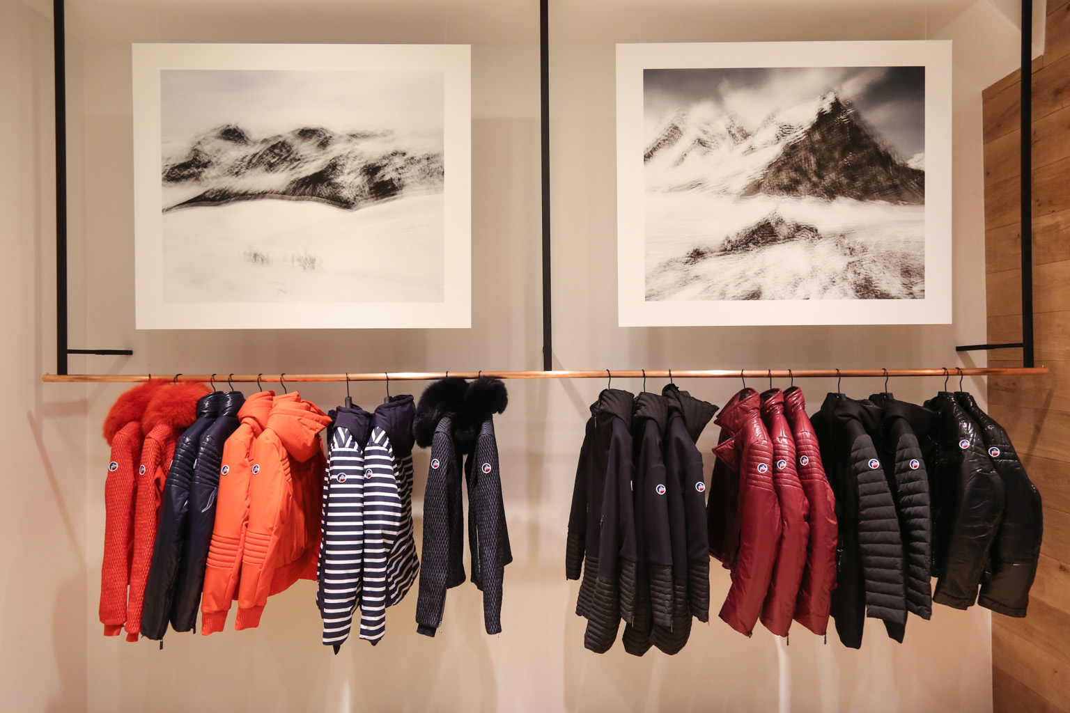 PhotographsofEric Bourret adorn thechalet-likeFusalp boutique.
