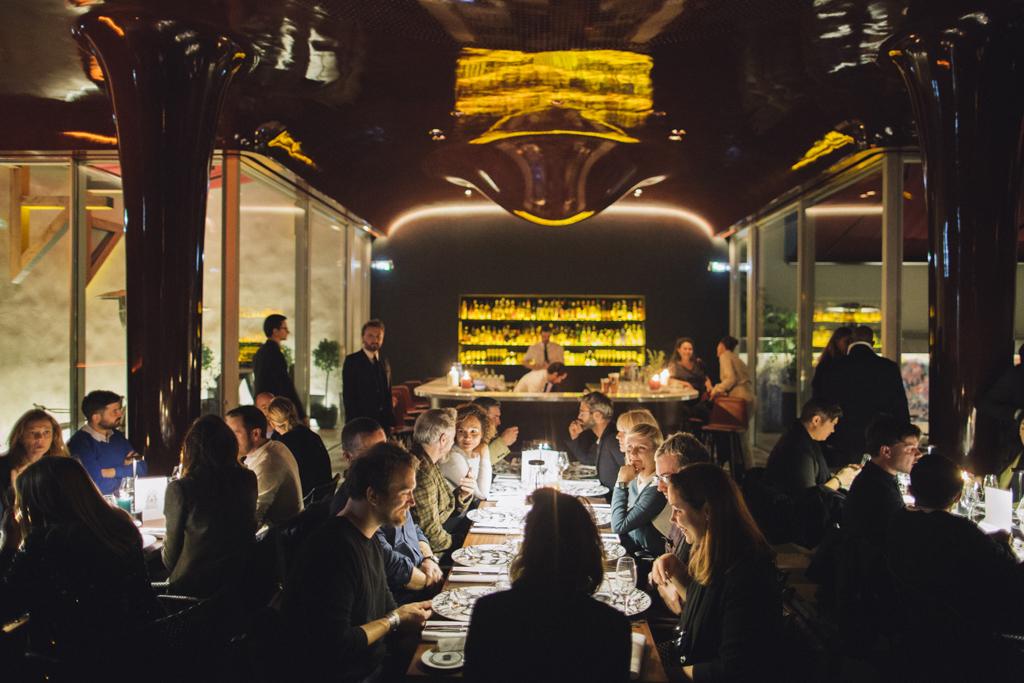 The scene at Les Bains dinner for the Cabinet de Curiosités
