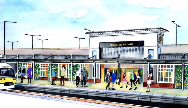 illustration Bicester Village train station