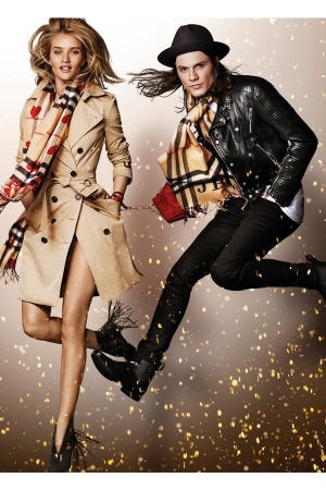 Rosie Huntington and James Bay featured in Burberry's Festive Campaign, shot by Mario Testino.