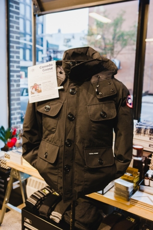 A Canada Goose jacket on display at Story.