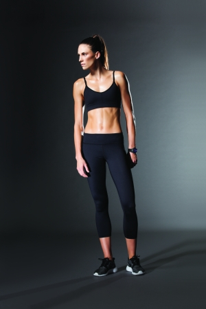 A sports bra and capri pant from Carbon38's C38 line.