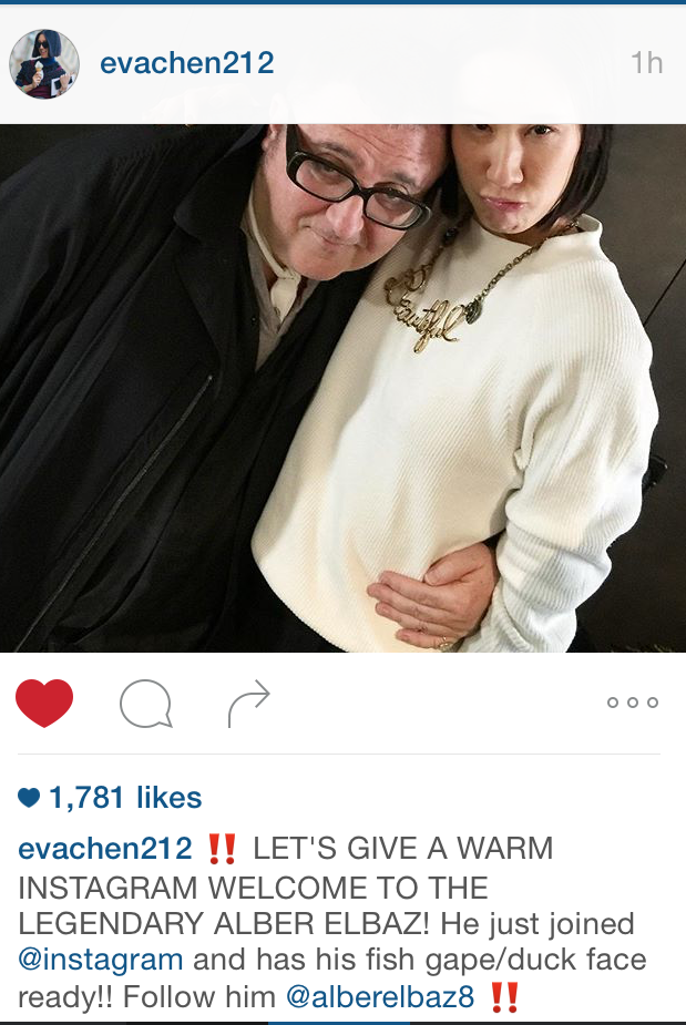 Eva Chen instagram post with Alber Elbaz