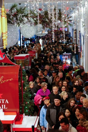 Customers stream into Macy's flagship store in Herald Square