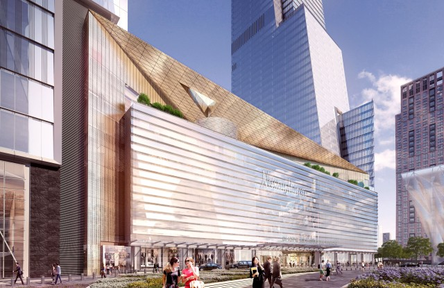 A rendering of the Public Plaza View from No 7 Subway Station.