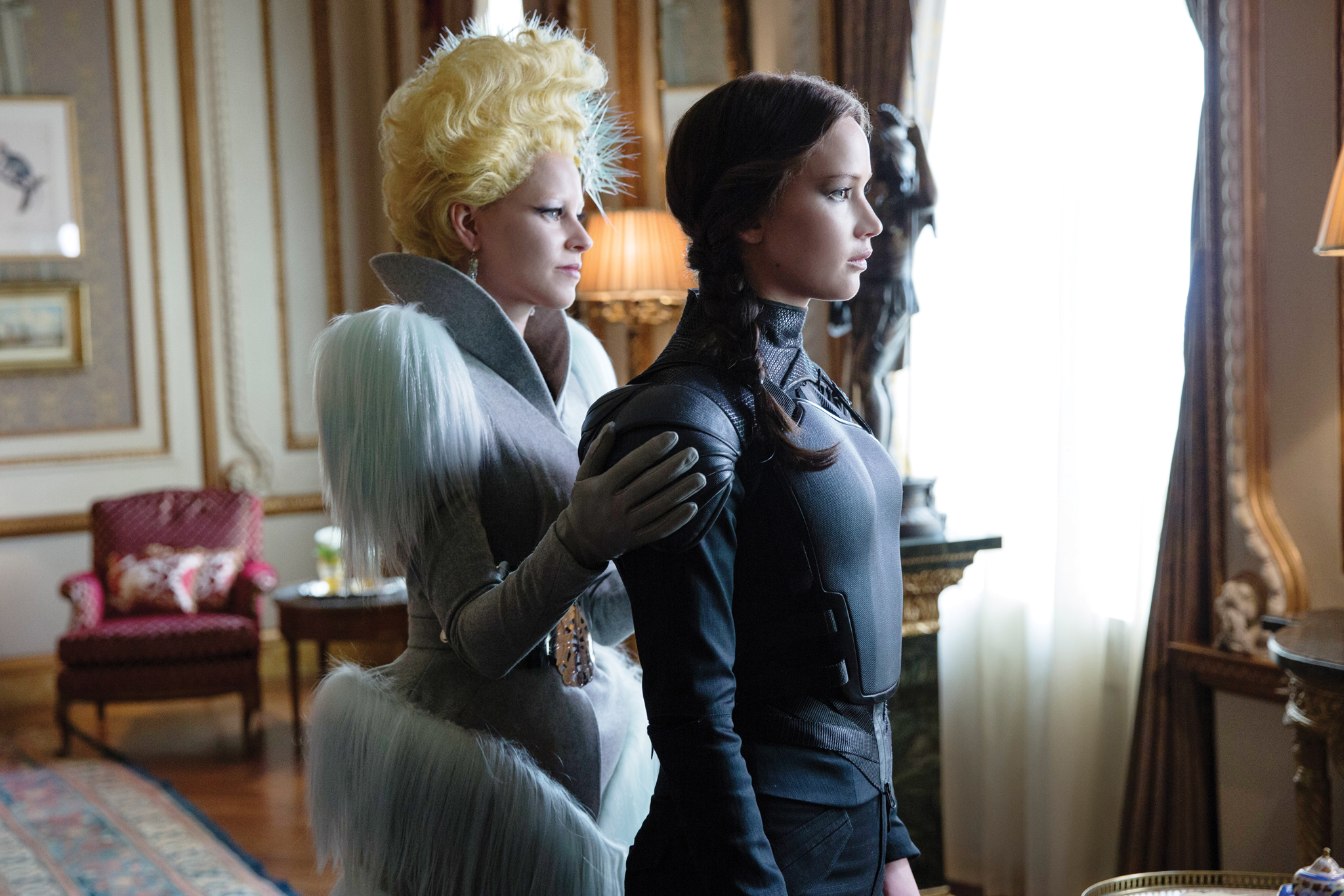 "Elizabeth Banks and Jennifer Lawrence in ""Hunger Games: Mockingjay, Part 2."""