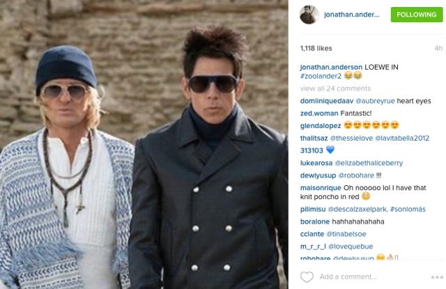 screenshot Jonathan Anderson Instagram post