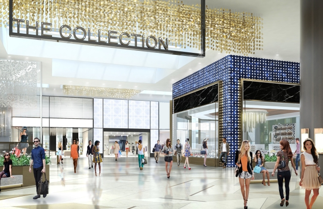 A rendering of the redesigned shops at Riverside Square.