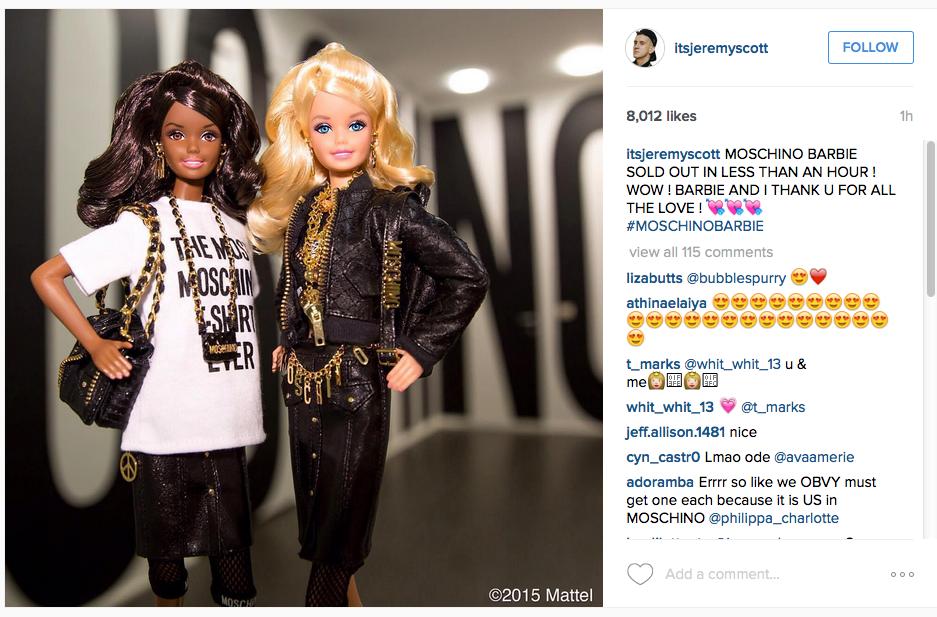 Jeremy Scott Moschino Barbie Instagram post