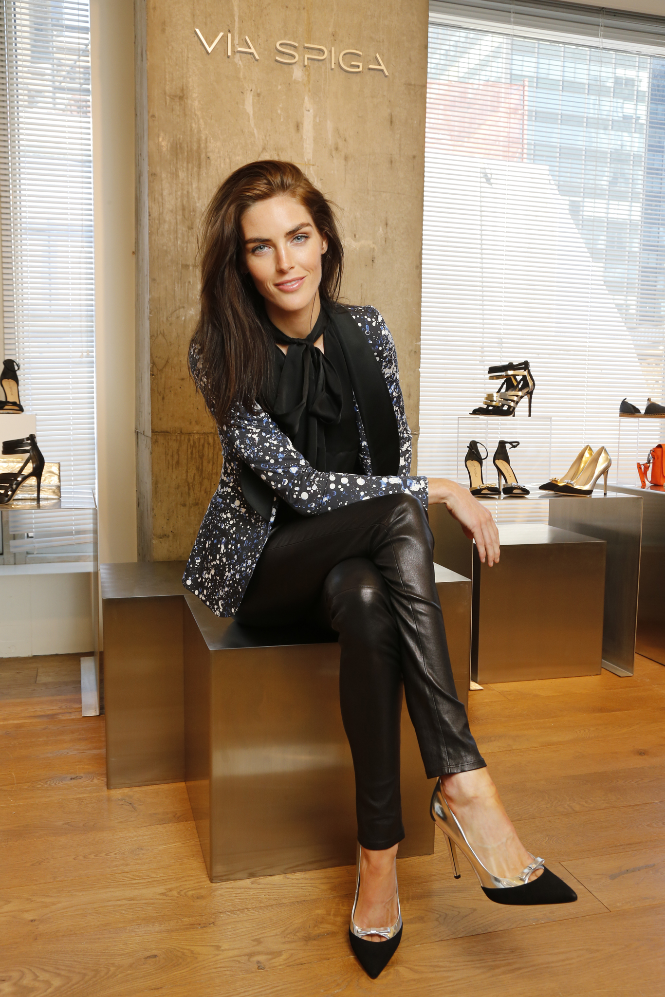 Hilary Rhoda wearing a look from her holiday capsule collection for Via Spiga.