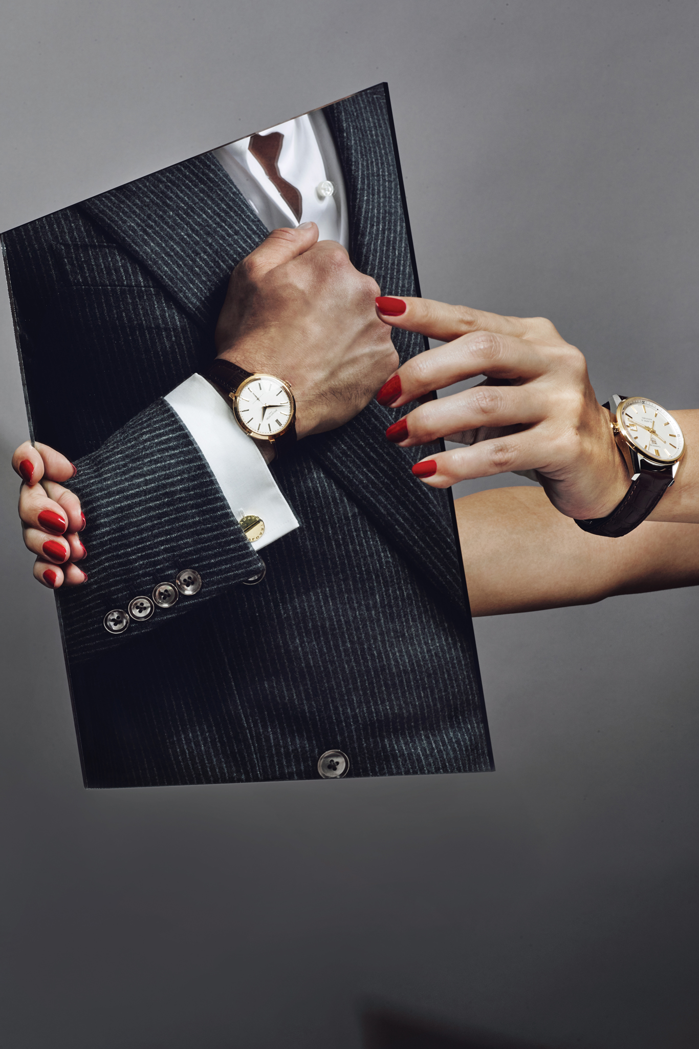 On Him: Patek Philippe's rose gold and alligator- strap watch. Caruso wool suit; Dunhill cotton shirt, Bulgari cuff links.  On Her: Tag Heuer's 18-karat gold, silver and alligator-strap watch.