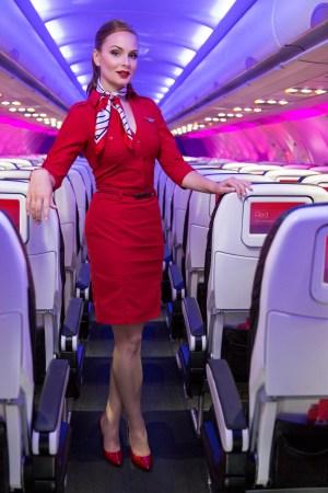 Virgin America staffer wearing the new Stuart Weitzman pumps.
