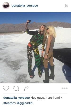 A screenshot of Donatella Versace's Instagram post
