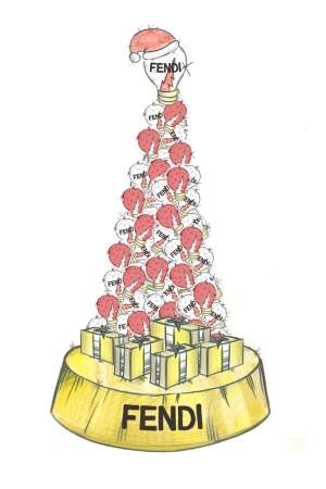 A sketch of the Christmas tree that Fendi created for Rome's Hotel de Russie.